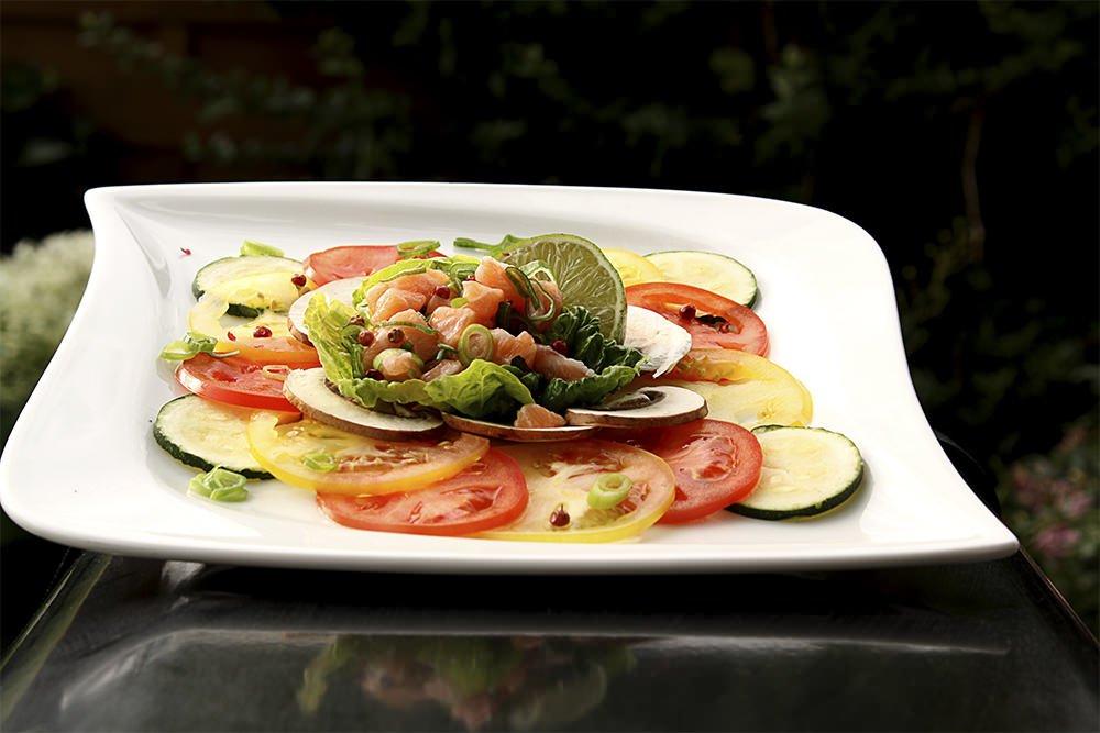 Tomaten Carpaccio mit Lachs Ceviche