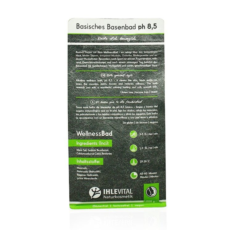 WellnessBad, basisches Badesalz, Basenbad, basisch, Ihlevital, Naturkosnetik, Natrue, Säurebasenkur, basische Körperpflege, Produktbild